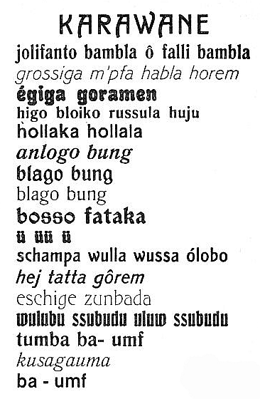 Hugo Ball's poem Kariwane