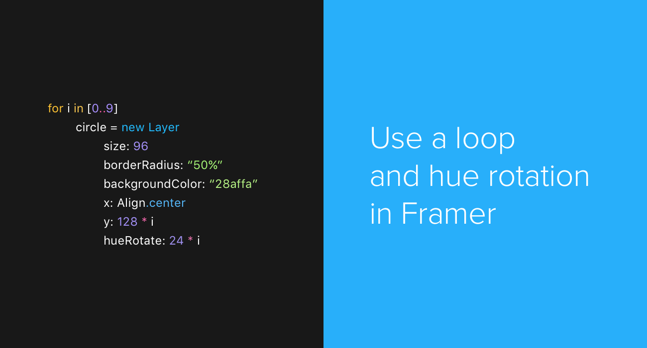Use a loop and hue rotation in Framer