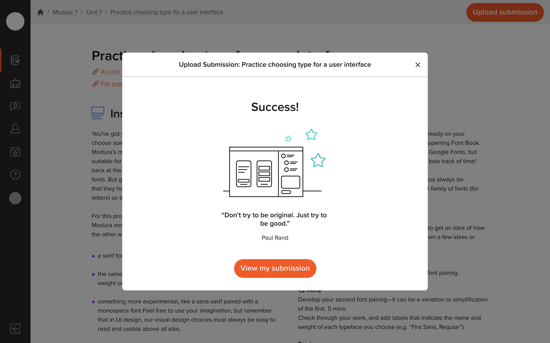 Upload Modal Success Screen