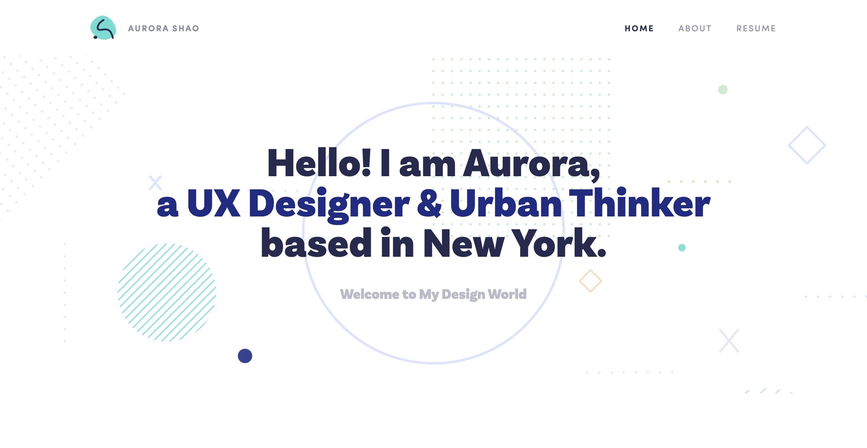 Auror Shao Portfolio Homepage