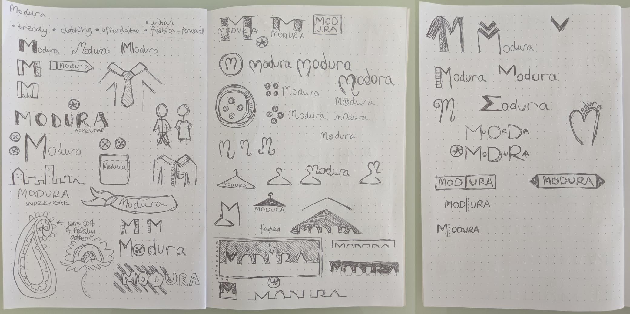 Modura logo sketches