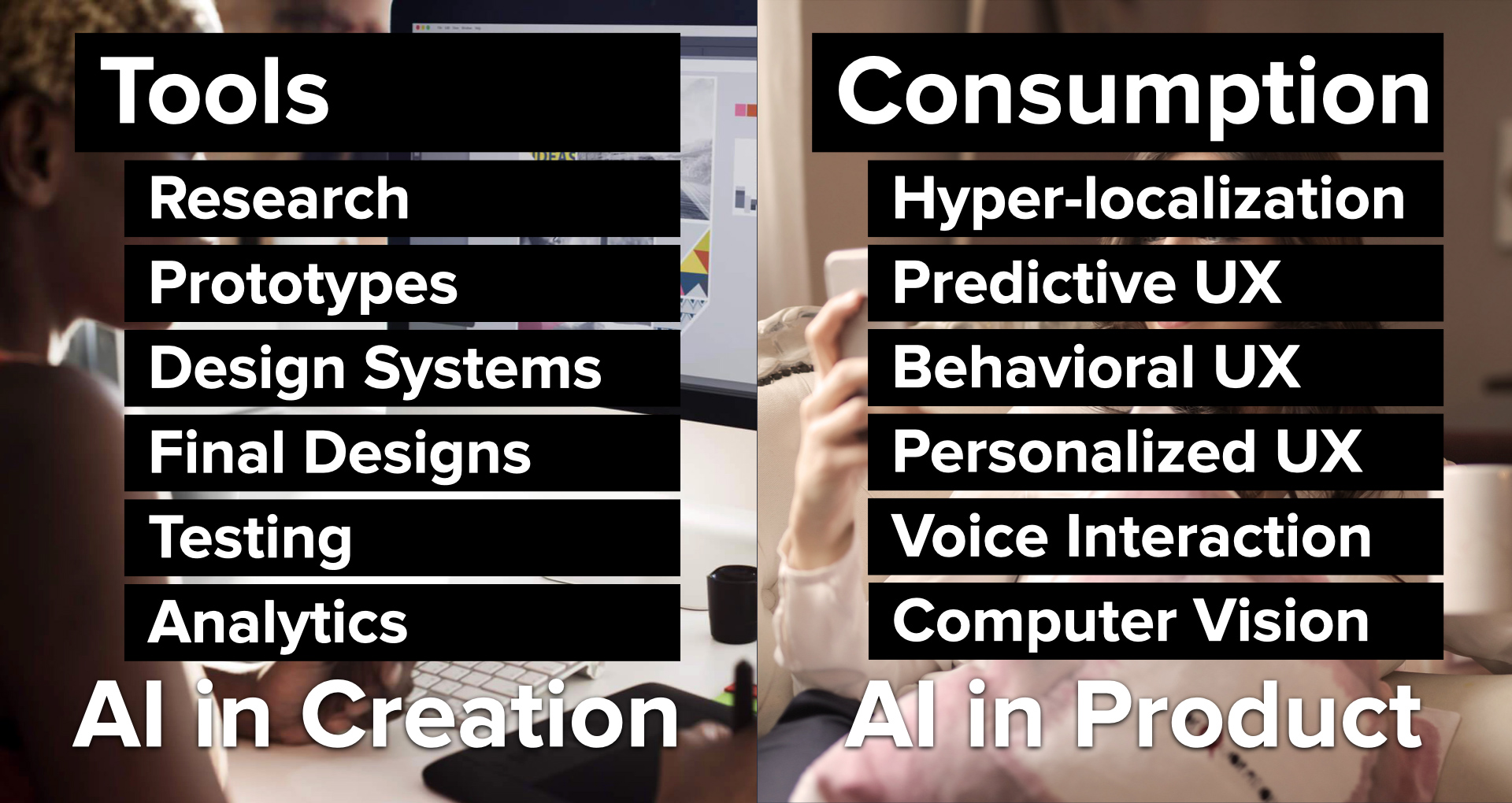 AI at the creation stage and at the consumption stage