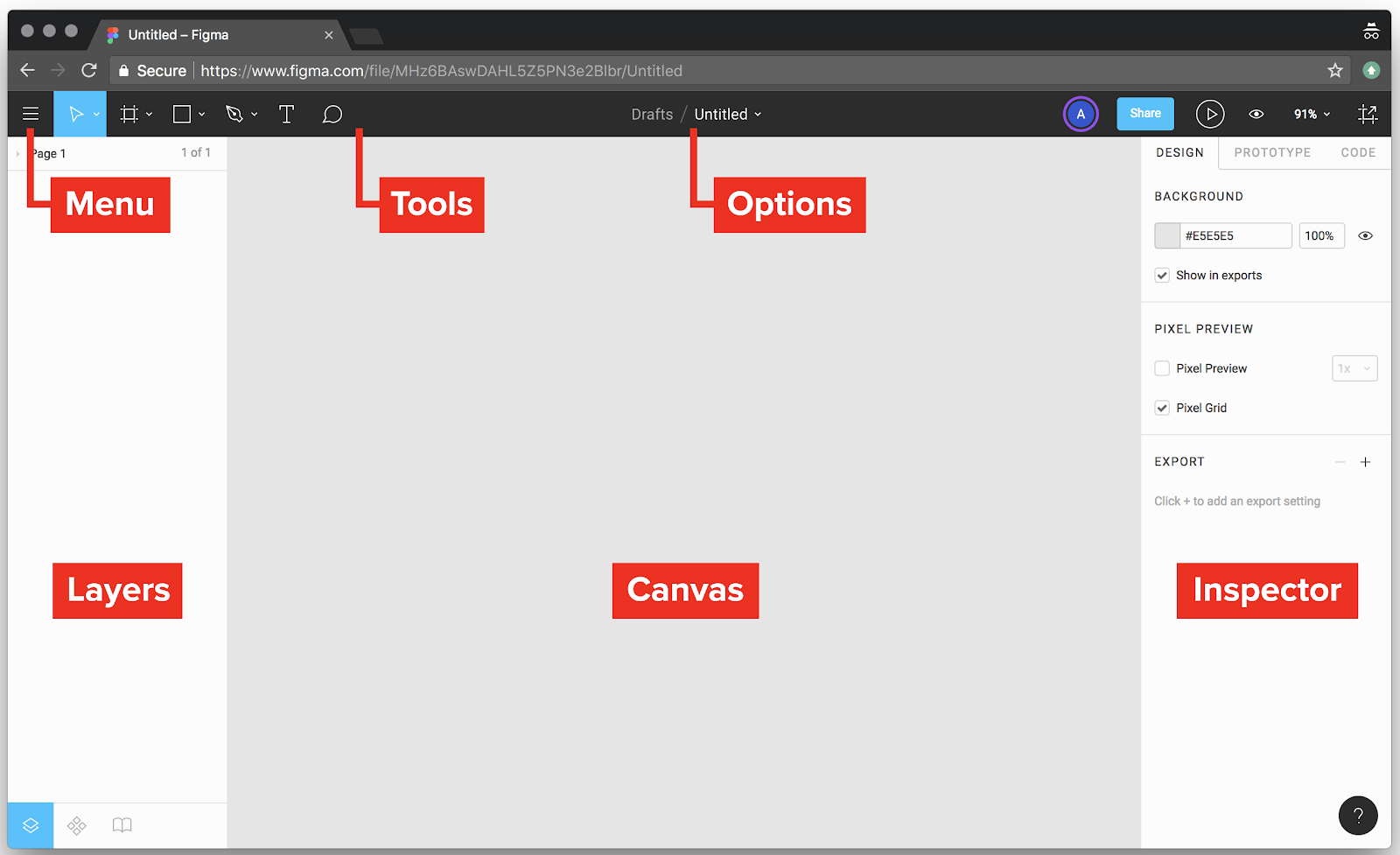 Take a look around the Figma interface