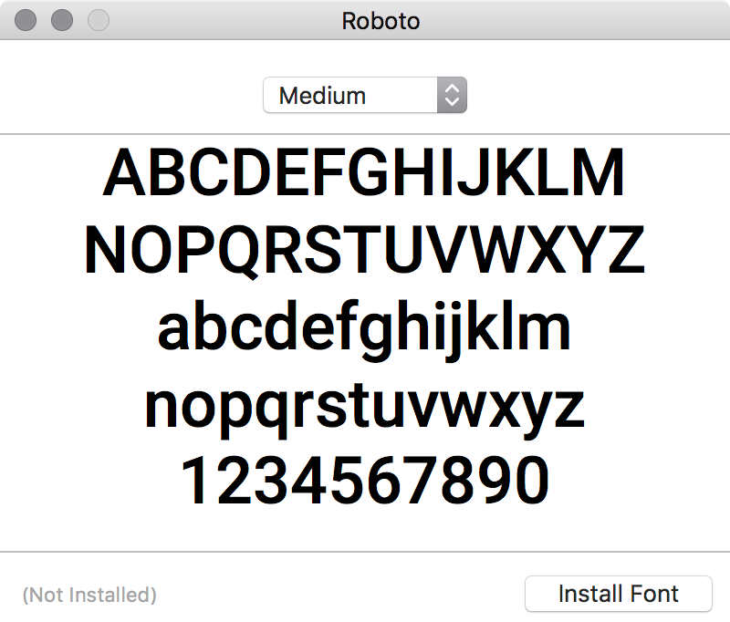 Install Roboto font screenshot