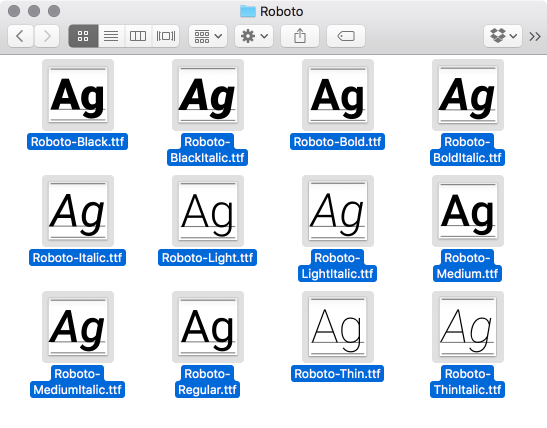 Roboto fonts in finder screenshot